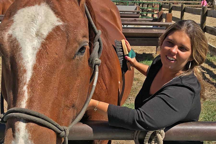 A woman enjoys grooming her horse during this women's retreat with horses.