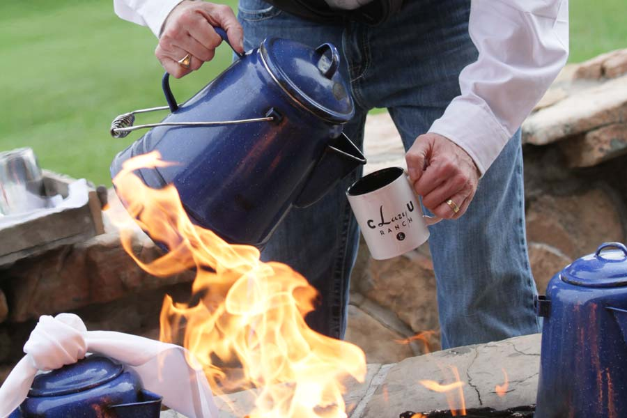 Begin your day at the retreat with fresh coffee made on an open fire, the way cowboys do!